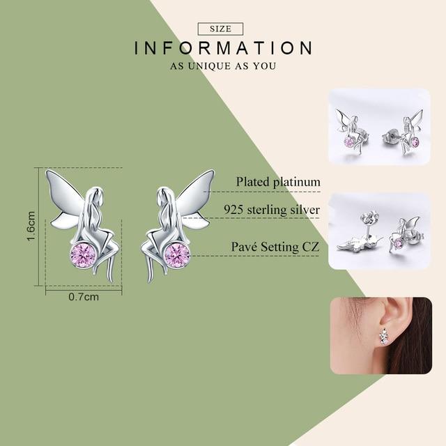 925 Sterling Silver Flower Fairy Pink Stud Earrings for Women 1