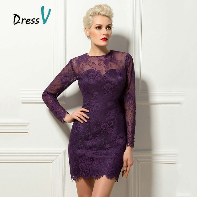 Dressv Purple Long Sleeves Lace Short Cocktail Dresses Simple Above Knee  Sheath Appliques Party Gowns Mini Formal Cocktail Dress 731fefadd