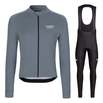Ropa de ciclismo para hombre, Ropa térmica de lana, conjunto de manga...