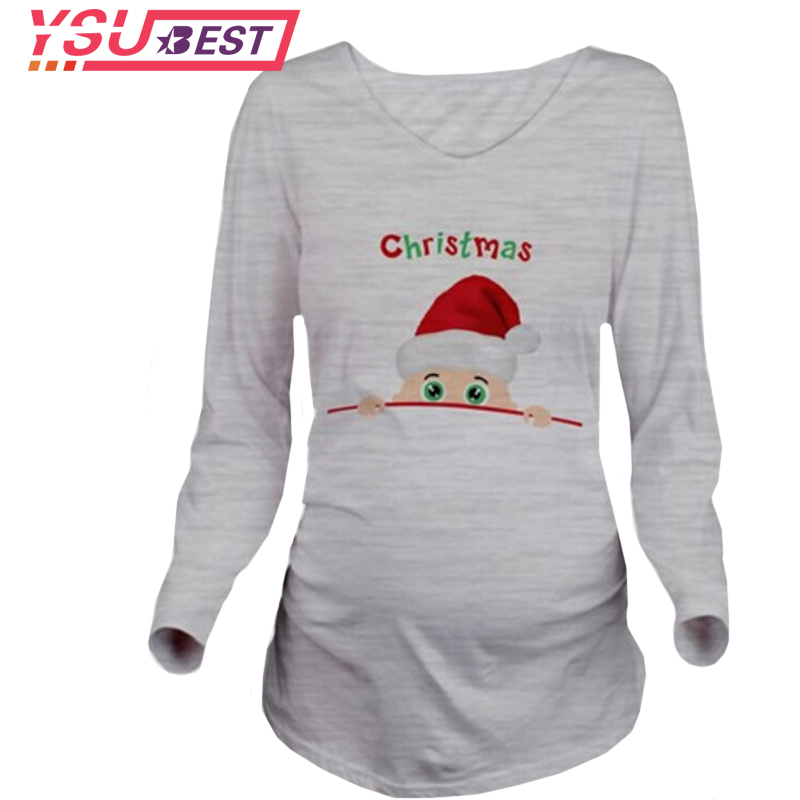 New Enceinte Santa Claus Print Maternity Pregnancy T Shirt Women Fashion Cotton Long Sleeve Maternity Clothes for Pregnant Women stylish flocking print long sleeve hoodie for women