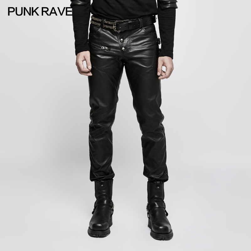 Punk Rave Mens Pants Fashion Street Style Faux Leather Trousers personality Hip Hop Long