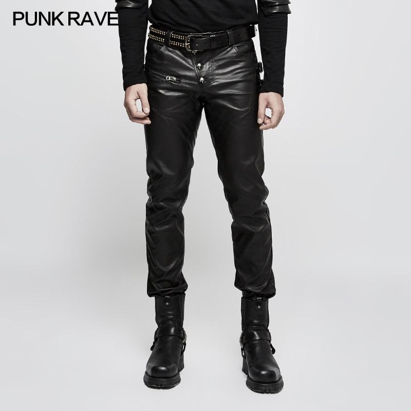 Punk Rave Punk Rave Mens Pants Fashion Street Style Faux Leather Pants Trousers Personality Hip Hop Long Pants