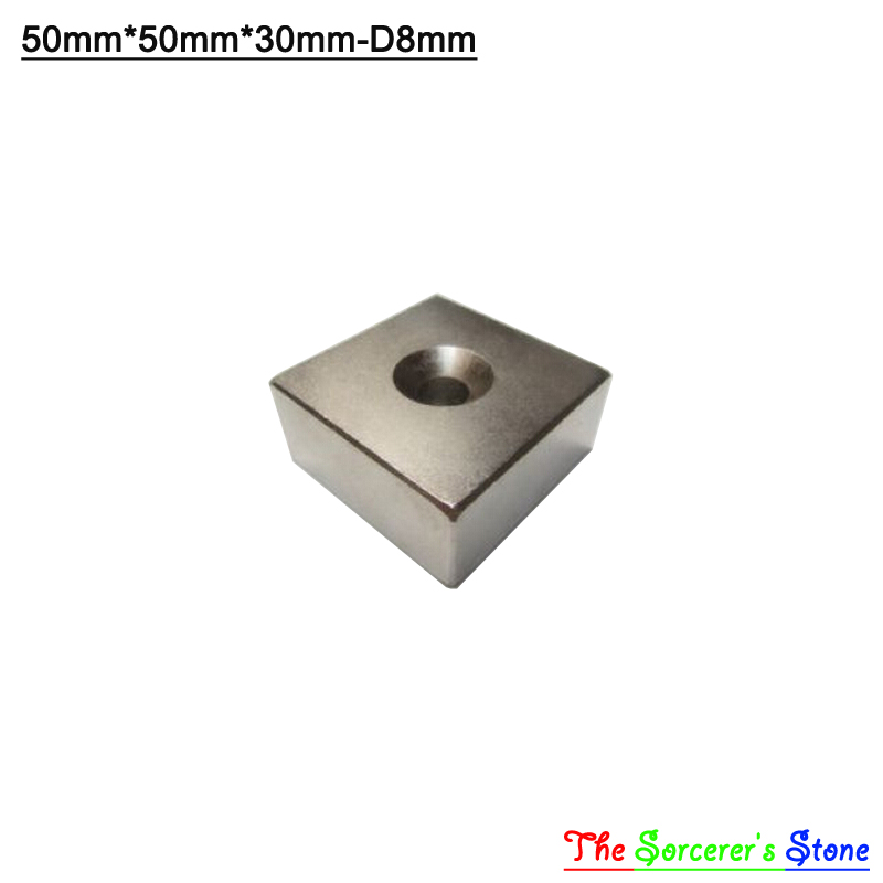 1pcs Super Strong 50x50x30mm With Hole 8mm Rare Earth Neodymium Block Magnet N52 Free Shipping 1pcs super strong 50x50x30mm with hole 8mm rare earth neodymium block magnet n52 free shipping