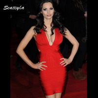 New Sexy Deep V Neck Back Criss Cross Rayon Bodycon HL 2015 Bandage Dress Celebrity Dresses