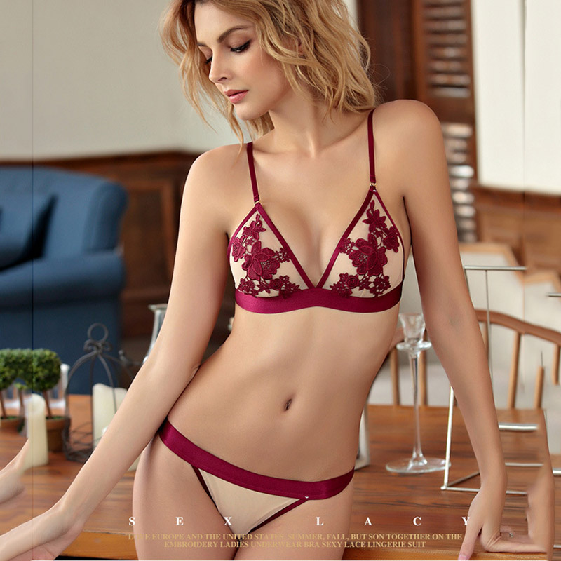 French Ultrathin   Bra     Brief     Set   Deep V Female Victoria Lingerie Woman Intimates Patchwork Lace Sexy   Bras     Set   Underwear