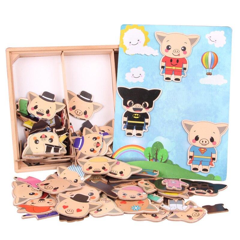 Petit Cochon de Changer de Vêtements Enfants Éducation Précoce En Bois Jigsaw Puzzle Jeu D'habillage Bébé En Bois Puzzle Jouets Oyuncak Enfant