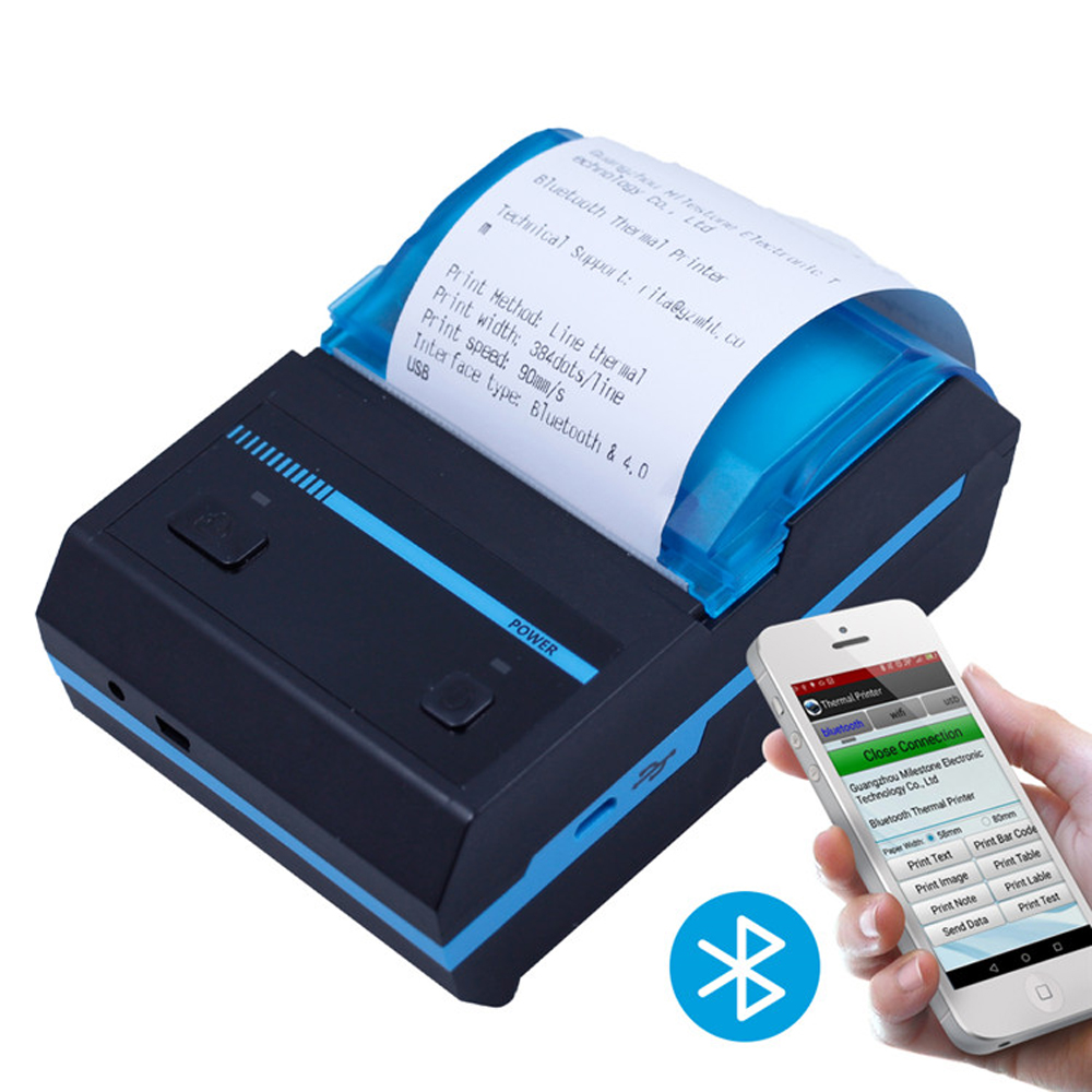 Mini Bluetooth Printer Thermal Printer Portable POS Receipt Printer Support Android iOS and Windows MHT 5801