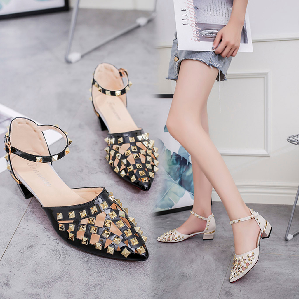 Jaycosin sandals ladies high heels sandals thick with square root pointed rivet single shoes ladies sandals open toe shoes squarJaycosin sandals ladies high heels sandals thick with square root pointed rivet single shoes ladies sandals open toe shoes squar