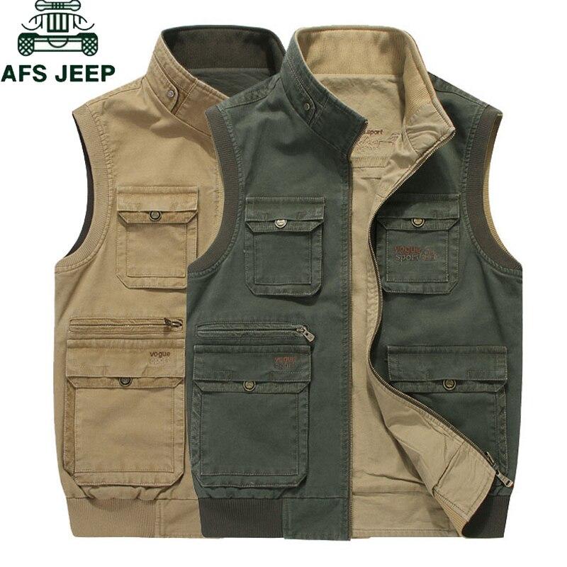 AFS JEEP Brand Men Vest Sleeveless Jacket Men Military Men Veats Casaco masculino Casual Multi Pocket Photographer Waistcoat 8XL