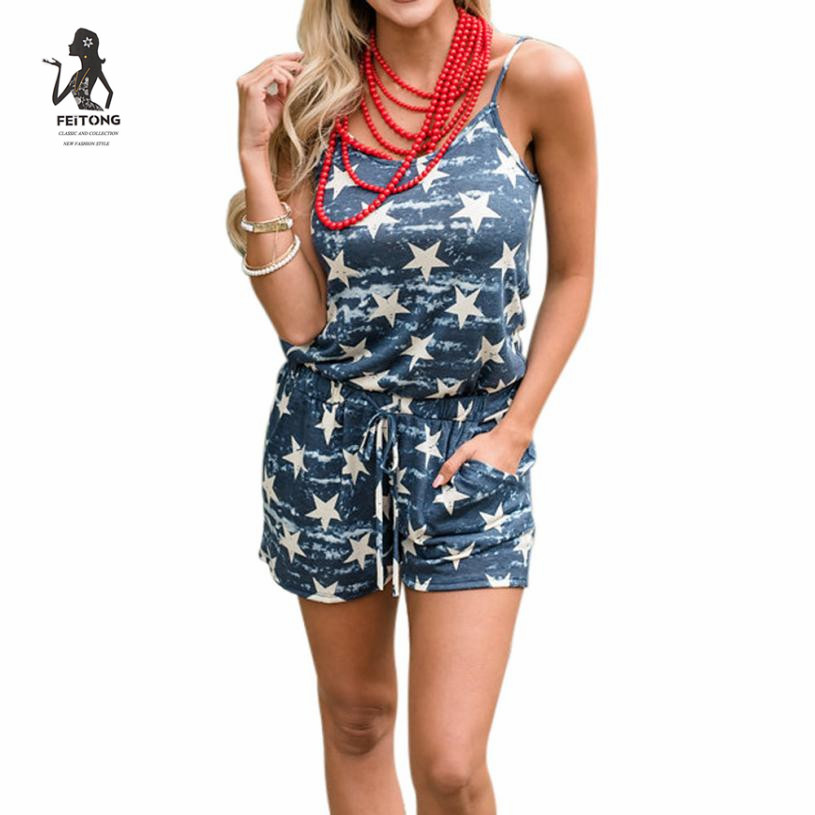 Casual New Style 2020 Romper Playsuit Star Printed Mini jumpsuit shorts Summer Beach Rompers Women Jumpsuit#LRSO