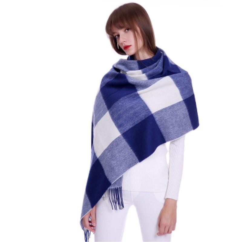 Plaid scarf winter women cashmere shawl poncho scarfs luxury brand pashmina ladies scarves womens shaws tartan Size:70*190cm