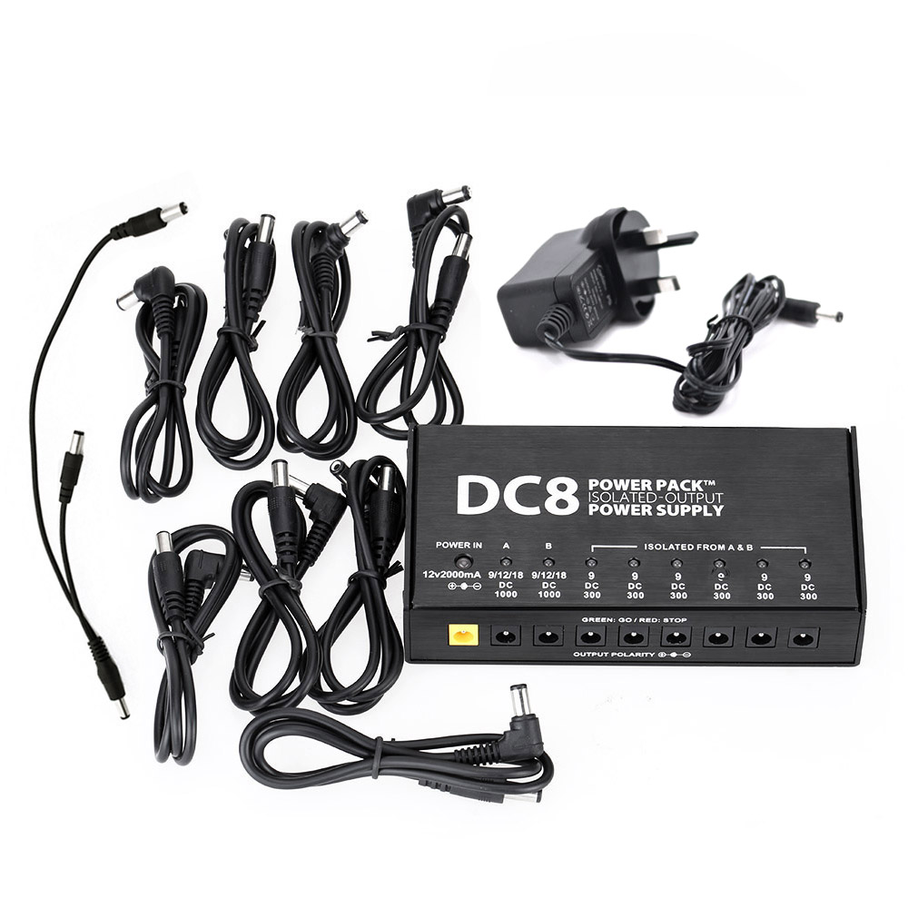 VITOOS DC8 Guitar Effects Power Supply Adjustable 9V 12V 18V Switching Stabilized Voltage with Anallobar AC100