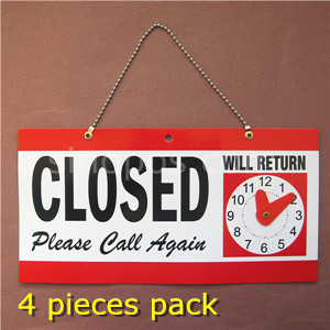 """Red Double-Sided Open//Closed//Will Return Sign with Clock Hands 6/"""" x 11.5/"""""""
