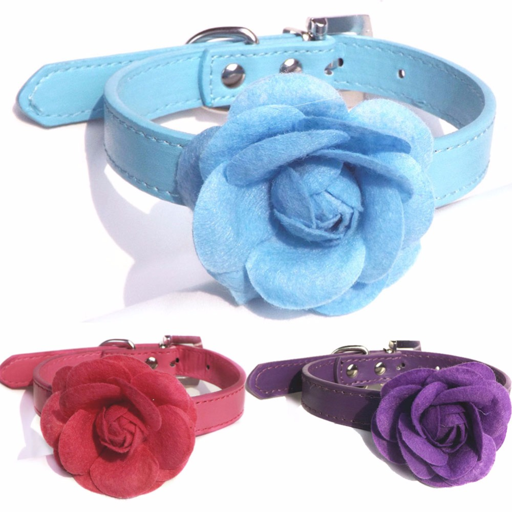 Popular flower dog collar buy cheap flower dog collar lots from new pet dog collar flower pu leather puppy cat choker necklace xs s m l 5 colors dhlflorist Choice Image
