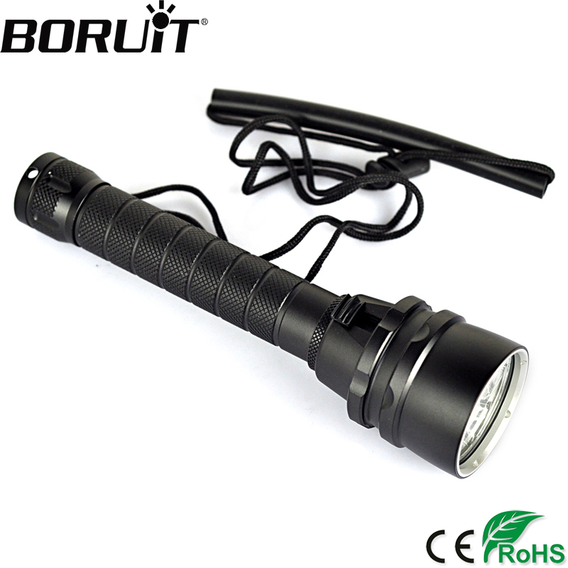 BORUiT 8000LM 5 XM-L2 LED Scuba Diving Flashlight Underwater 100M Torch Magnetic Control Diver Portable Lantern by 18650 Battery 100m underwater diving flashlight led scuba flashlights light torch diver cree xm l2 use 18650 or 26650 rechargeable batteries