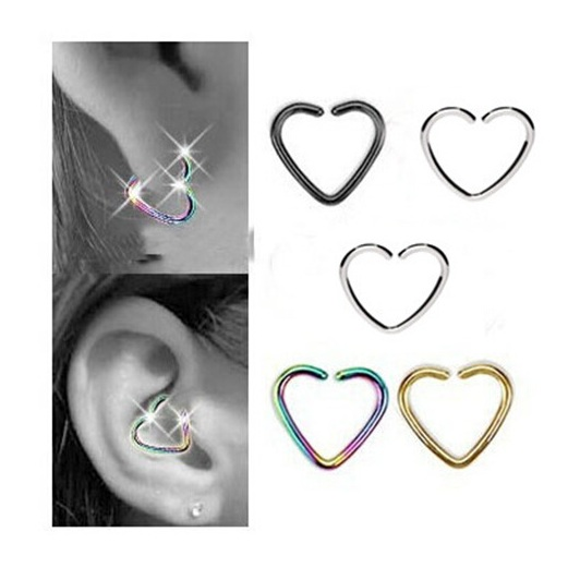NS52004 free shipping 50pcs/lot fake stainless steel body jewelry 1.2*10 multifuction heart ear stud nose clips