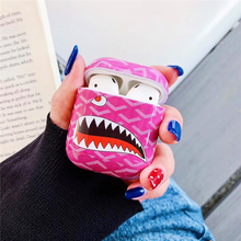 Cartoon Shark pattern Anti-fall Wireless Earphone Charging Cover Bag AirPods case for Apple 1/2 Bluetooth Headset box