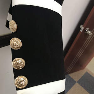 Image 5 - Женский классический блейзер с металлическими пуговицами, черно белый дизайнерский Блейзер, новая мода 2020