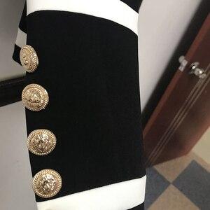Image 5 - Alta qualidade nova moda 2020 designer blazer jaqueta feminina clássico preto branco cor bloco botões de metal blazer