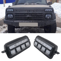 2PCS For Lada Niva 4x4 LED Daytime Running Lights with Amber Running Turn Signal Car Styling Accessories Tuning DRL Lamps