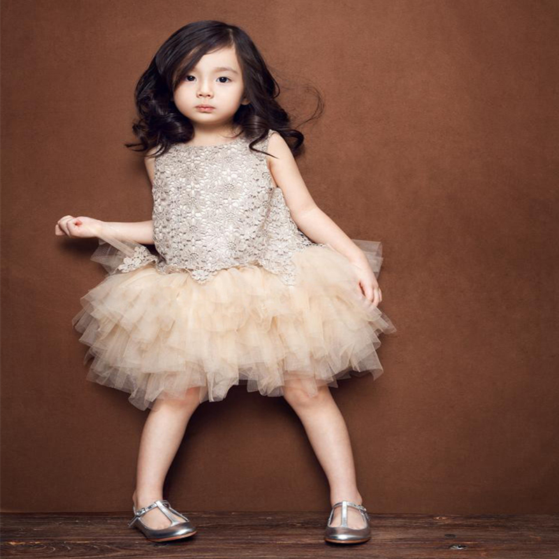 Top Sale Princess Dresses For Baby Party Clothes Girl Champagne Gold Ball Gown Infant Kids Cute Color Lace Mesh Dress Spring New 4pcs new for ball uff bes m18mg noc80b s04g