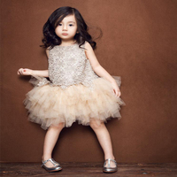 Top Sale Princess Dresses For Baby Party Clothes Girl Champagne Gold Ball Gown Infant Kids Cute