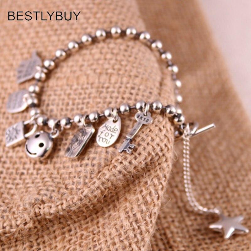 Réel S925 bracelet en argent femme japonaise coréenne mode personnalité all-match perle bracelet bijoux pendentif multi paragraphe