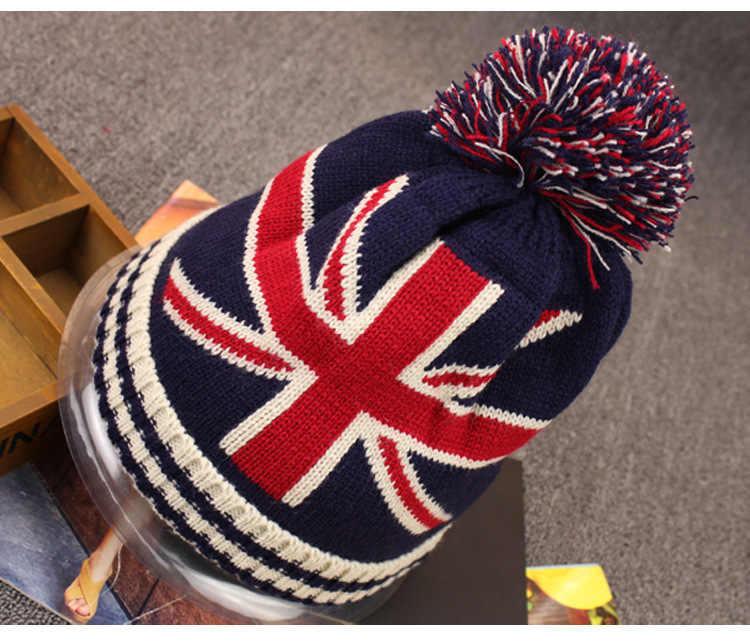 ผู้หญิงผู้ชายฤดูใบไม้ร่วงฤดูหนาว Pom Pom Ball หมวกถักแฟชั่น Casual USA Star และธงลาย Beanies ธงอังกฤษ Beanies