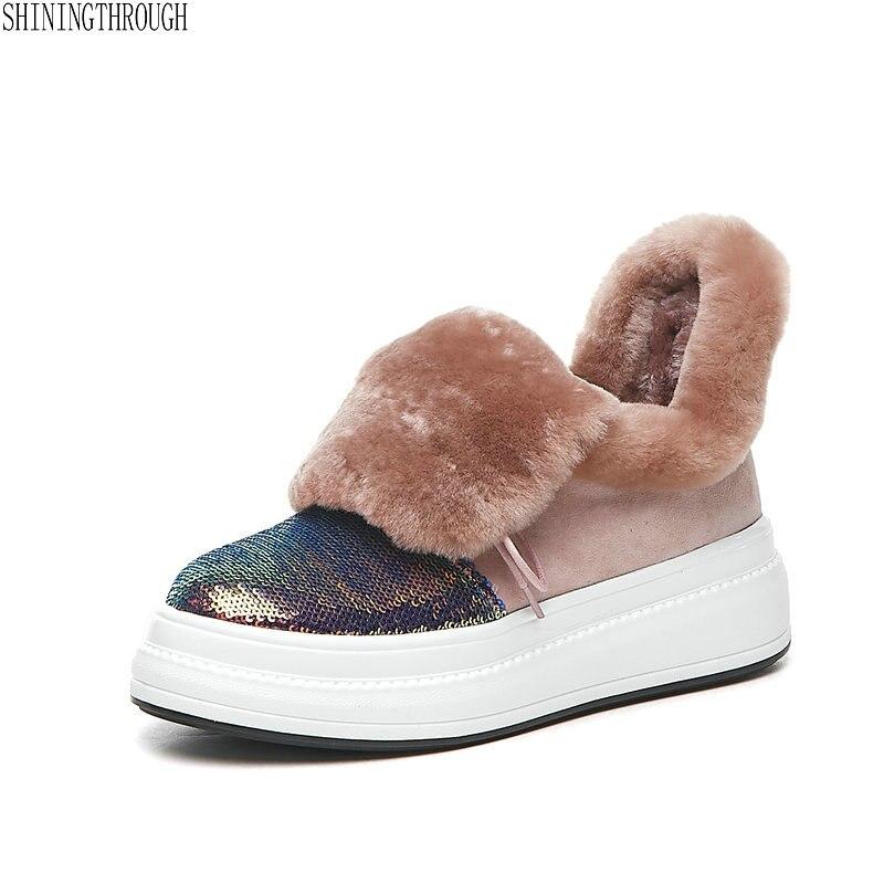 Botas Felpa Para rosado Nieve Cálidas Plataforma Mujer Cuero Genuino Zapatos Tobillo De Negro Invierno 6rPwCIx6q