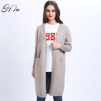 H SA 2017 Spring Long Cardigans For Women V Neck Long Sleeve Knitted Wear Pocket Poncho