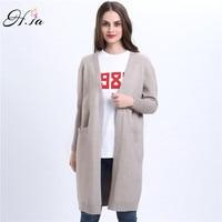 H SA 2017 Spring Long Cardigans For Women V Neck Long Sleeve Knitted Wear Pocket Poncho