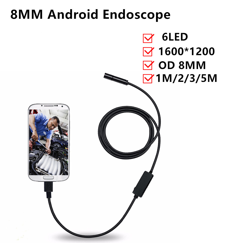 hd 8mm usb endoscope with 1 2 3 5m 6led waterproof