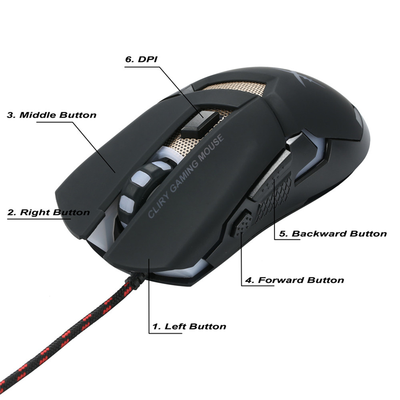 Mosunx X1 USB Wired 4800dpi 7 Buttons Optical Gaming Mouse LED Backlight For PC APR19
