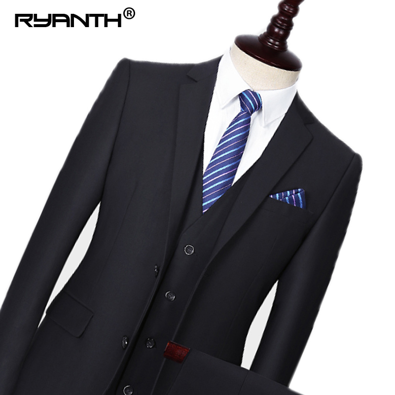 Ryanth Men Suit Casual Single Breasted Suit Set Wedding Groom Stylish Prom Dress Men Party Wear 3 Pieces(Jacket+Vest+Pants)