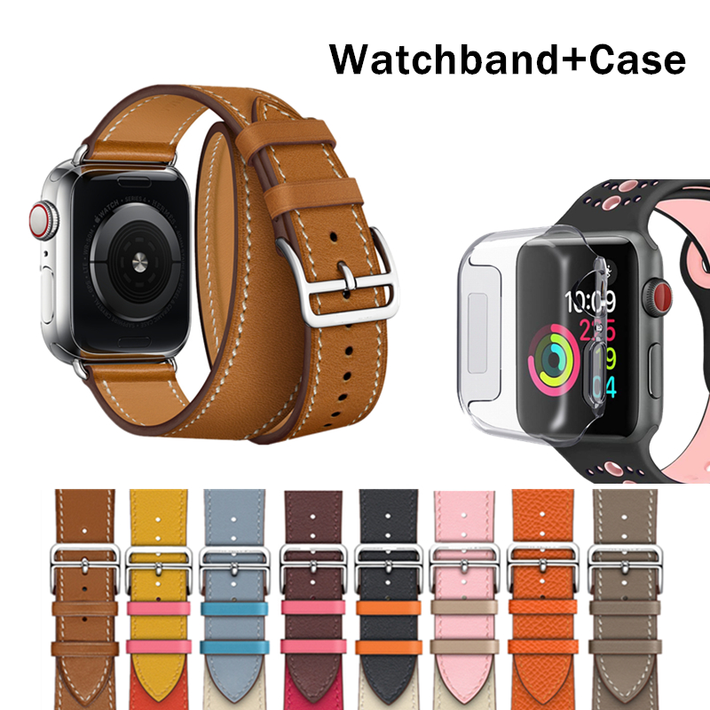 HERM Logo On Buckle Strap For Apple Watch 5 4 3 2 Swift Leather Double Tour 44MM 40MM 42MM 38MM Band Leather Loop For IWatch 5 4