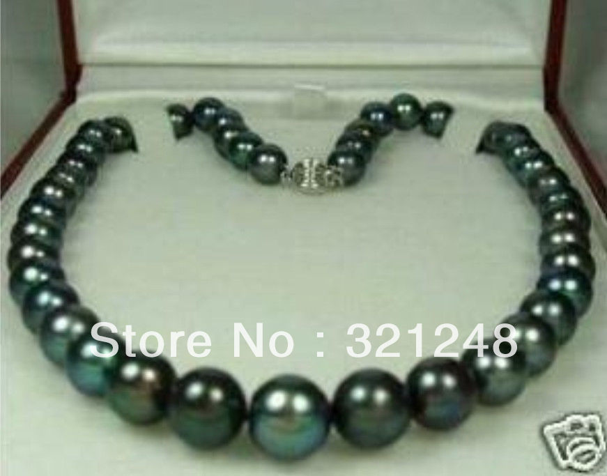 new beads DIY 8-9mm Tahitian Black Natural Pearl Necklace 18