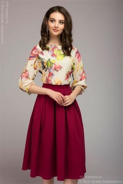 Elegant Floral Print O-Neck Three Quarter Length Sleeve Dress