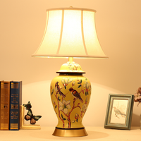 Chinese elegant yellow ceramic Table Lamps Touch Switch fabric lampshade copper base E27 LED lamp for bedside&foyer&study MF085