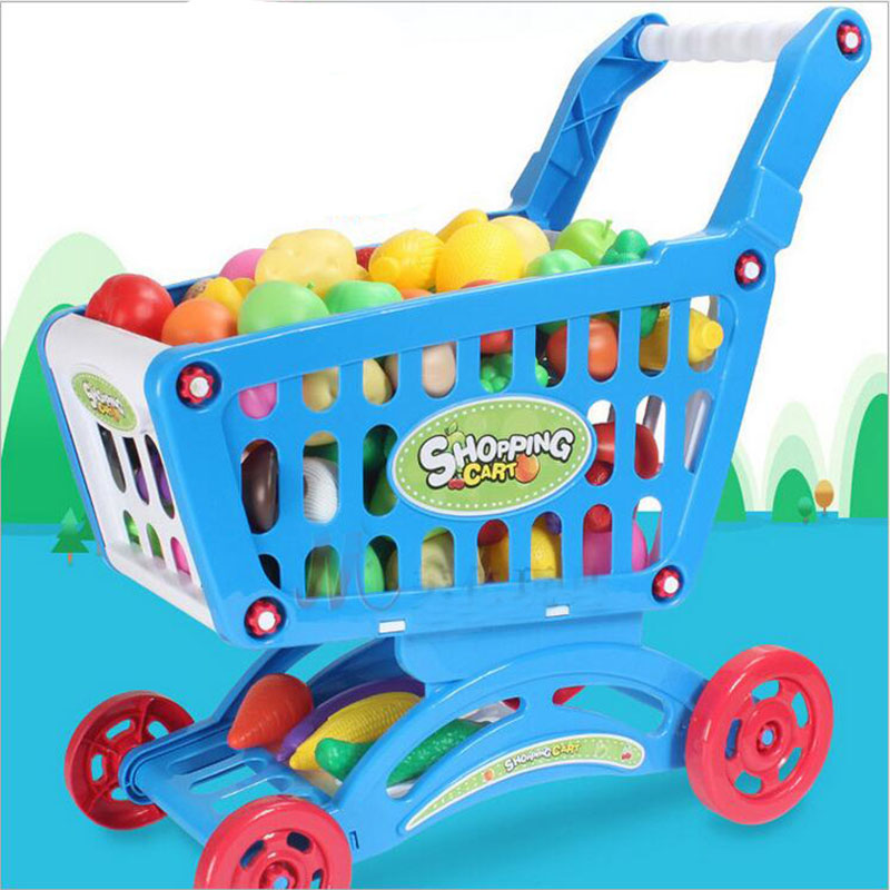 Hot Kids Childrens Shopping Trolley Cart Play Toy Plastic Fruit Xmas Gift