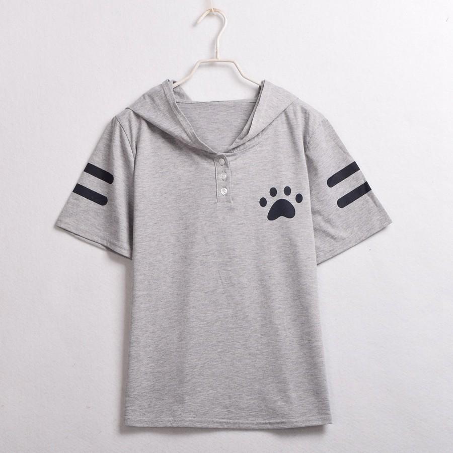 Cat Pattern Ears Hooded Shirt (4)