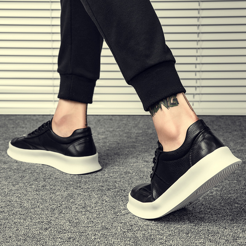 Genuine Leather Men Shoes Footwear High Quality Man Lace-up Casual Flats Students Board Britain All-matching Korean Style Shoes