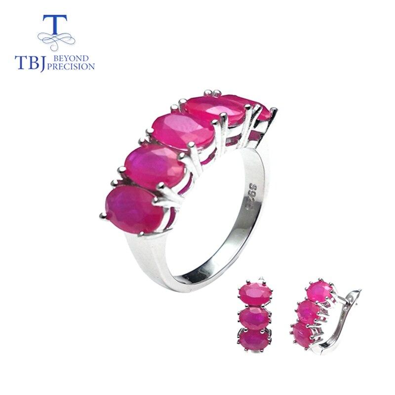 TBJ, bague et boucle d'oreille en rubis rouge naturel, ensemble de bijoux en argent sterling 925 pour femmes, anniversaire de mariage ou boîte-cadeau saint-valentin