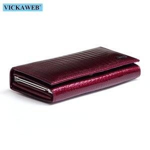 Image 5 - VICKAWEB cartera pequeña de piel auténtica de cocodrilo para mujer, monedero pequeño, monedero con cerrojo, a la moda