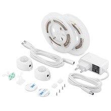 LED Cabinet Light PIR Motion Sensor LED Strip 2835 EU US UK Plug DC12V Under Bed Lamp Tape Corridor Kitchen Stairs Decoration
