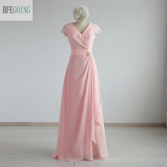 cfdfaff1afe Розовый шифон-линии Формальное вечернее платье длиной до пола Длина v-образным  вырезом Кепки