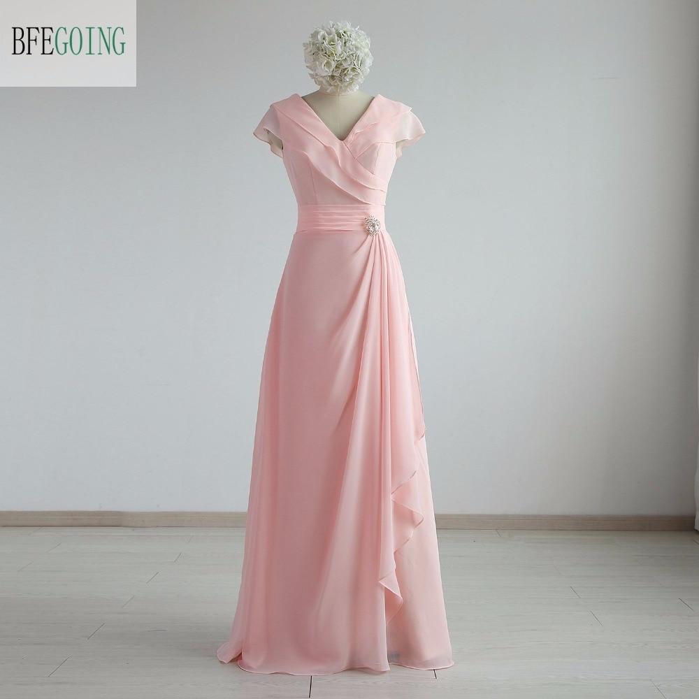 Pink Chiffon A-line Formal Evening Dress Floor-Length V-Neck Cap Sleeves  Real/Original Photos Custom Made