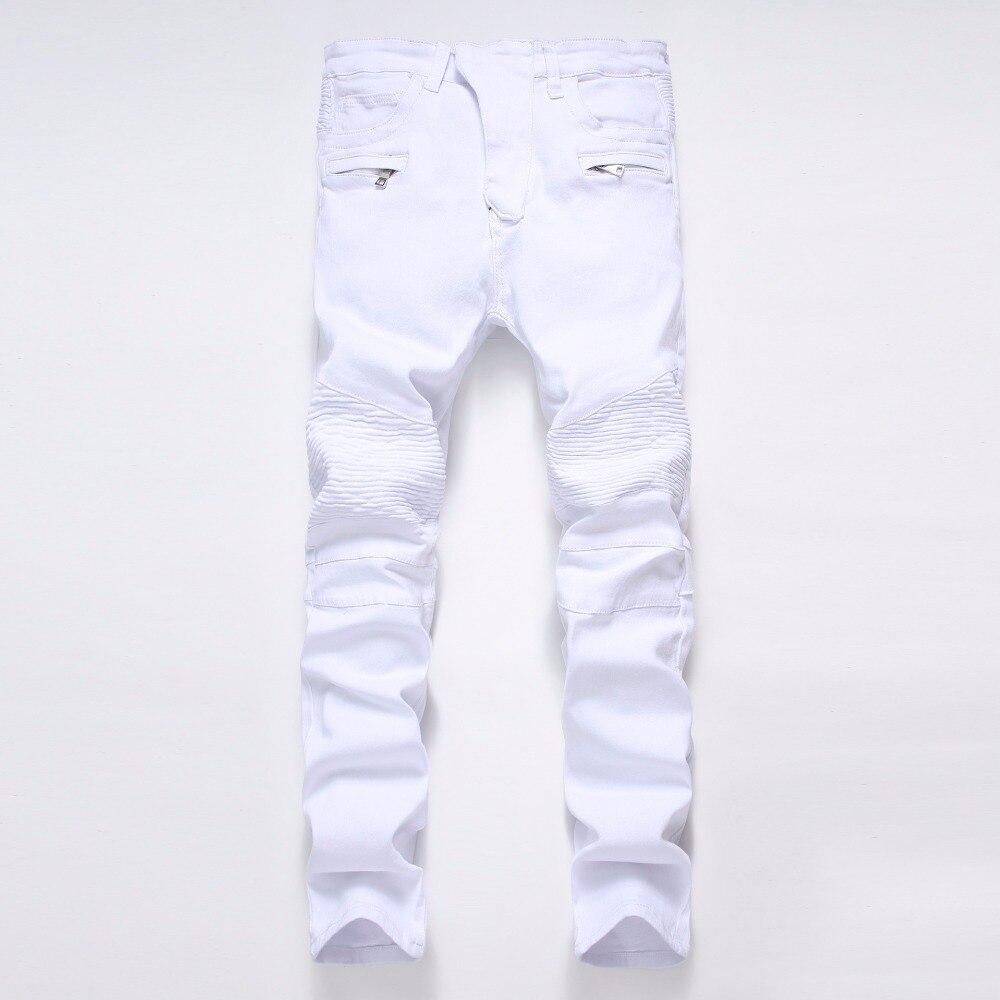 Streetwear Mens Ripped Biker Jeans Homme Fashion Motorcycle Black Faded Slim Fit White Blue Moto Denim