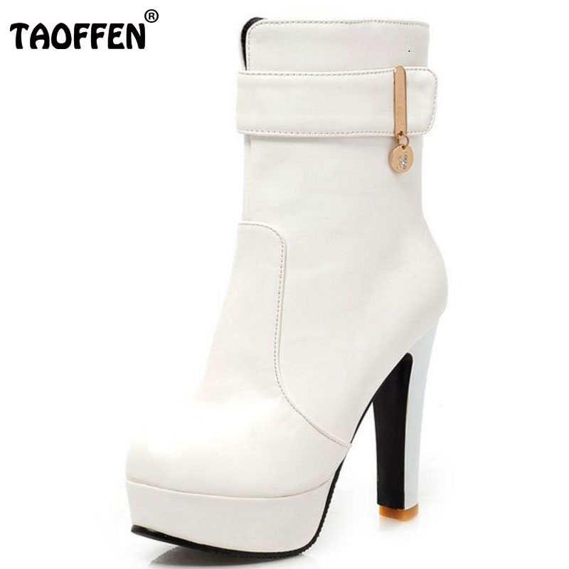 TAOFFEN size 32-45 women high heel half short ankle boots catwalk winter botas round toe buckle warm footwear boot shoes P19956 size 33 43 women real natrual genuine leather snow high heel ankle boots half short botas winter boot warm footwear shoes r7401