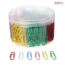 600Pcs 28mm/1.10in Paper Clip With 6-Grid Storage Case Bright Colors Photo Bookmark DIY Handmade Decor School Stationery