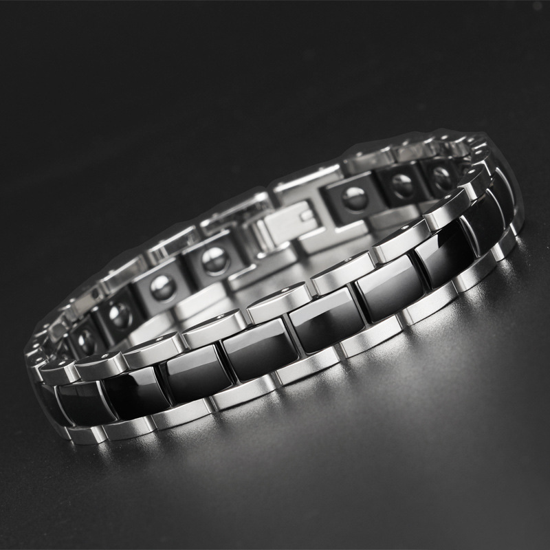 Health Bracelet for Men Black White color Titanium Steel Therapy Magnetic with Hematite High Quality
